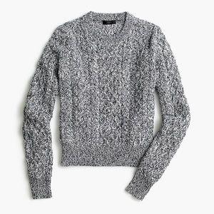 J Crew Marled Cable Crewneck Sweater